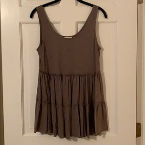 Olive Green Ruffled Tank Top, Size Medium